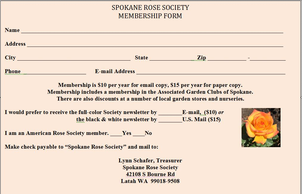 Spokane Rose Society sign up form